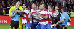 Los jugadores del Granada rodean a Clos Gómez. | EFE
