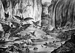 Litografía empleada para ilustrar el supuesto hallazgo científico de los selenitas.   New York Sun, 1835