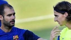 Guardiola e Ibrahimovic, cuando ambos pertenecían al Barcelona. | Archivo