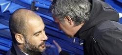 Saludo entre Pep Guardiola y José Mourinho. | Archivo