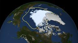 Imagen creada para mostrar la extensión del hielo en el Ártico el 16 de septiembre de 2012.   NASA