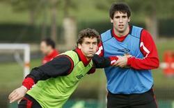 Fernando Llorente y Javi Martínez, en un entrenamiento del Athletic.   Archivo