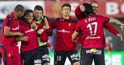 Los jugadores del Mallorca celebran la victoria in extremis ante el Celta.   EFE