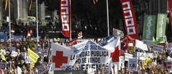 Manifestación contra la externalización hoy en Madrid.