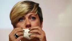 María Vasco, en el momento en el que anuncia su retirada. | EFE