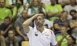 Juan Antonio Orenga, durante el partido contra Eslovenia.   EFE