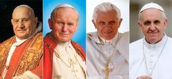 Los papas Juan XXIII, Juan Pablo II, Benedicto XVI y Francisco