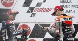 Dani Pedrosa (d) y Jorge Lorenzo, en el podio de Motegi. | Cordon Press