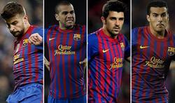 Gerard Piqué, Dani Alves , David Villa y Pedro.   LD