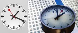 El reloj de Apple junto al reloj de Canary Wharf, Londres, siguiendo el modelo suizo.   Apple y Corbis