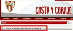 Extracto de la portada de la web del Sevilla que ha sido hackeada.