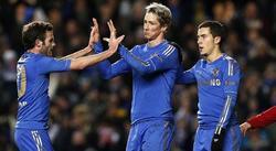 Fernando Torres celebra un gol con Mata y Hazard. | EFE