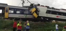 Imagen de televisión del choque de trenes