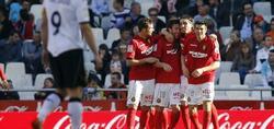 Los jugadores del Mallorca celebran el tanto del empate. | EFE