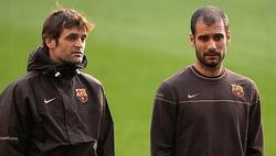 Pep Guardiola y Tito Vilanova dirigen un entrenamiento del Barça en mayo de 2009. | Cordon Press/Archivo