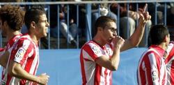 Gabi celebra su primer gol en Liga con el Atlético. | EFE