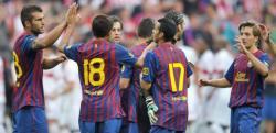 Los jugadores del Barça celebran su victoria en la tanda de penaltis. | EFE