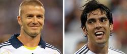 Beckham, con la camiseta del Galaxy, y Kaká, con la del Real Madrid.