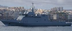 El BAM Rayo tras abandonar el Arsenal Militar de Las Palmas. | Armada