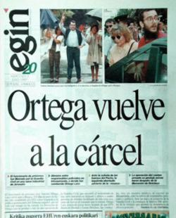 Portada del diario Egin el día después de la liberación de Ortega Lara.