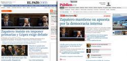 Las portadas digitales de los dos diarios.