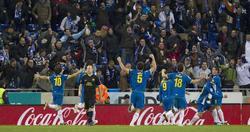 Los jugadores del Espanyol celebran el empate. | EFE