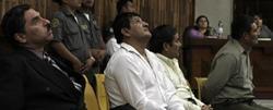 Los acusados Carías, Martínez, Gualip y Pop Sun escuchan la sentencia.   EFE