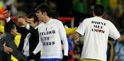 """Kaká, con su famosa camiseta de """"Pertenezco a Jesús""""."""
