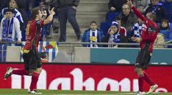 Los jugadores del Mirandés celebran el gol de Arroyo. | EFE