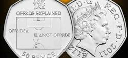 Imagen de la moneda en la que se explica el fuera de juego.