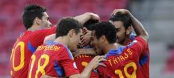 Los jugadores de la selección española celebran uno de los tantos ante Ucrania. | EFE