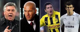 Carlo Ancelotti, Zinedine Zidane, Robert Lewandowski y Gareth Bale.