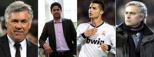 Ancelotti, Al Thani, Cristiano y Mourinho.