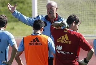 Vicente del Bosque, en un entrenamiento previo al partido contra Finlandia   EFE