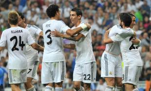 Los jugadores del Real Madrid celebran el tanto de Isco (d). | Cordon Press
