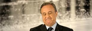 Florentino Pérez, durante su comparecencia en el Santiago Bernabéu. | Cordon Press