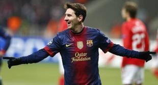 Messi celebra su primer gol al Spartak.   Cordon Press
