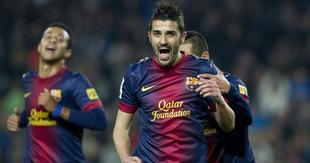 Villa celebra el segundo tanto del encuentro, un golazo. | EFE