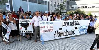 Acto de apoyo a Uribetxeberría Bolinaga este mismo martes. | EFE