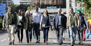 Oyarzábal, entre la delegación vasca que acudió a la manifestación de víctimas.