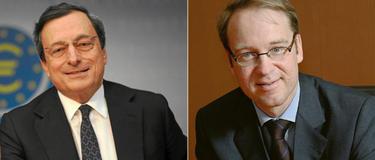 El presidente del BCE, Mario Draghi (izq.), y del Bundesbank, Jens Weidmann.