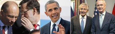 Rajoy susurra algo a Enrico Letta en el G-20, Obama pronunciando un discurso y fotografía de Hagel con Morenés en Washington | EFE