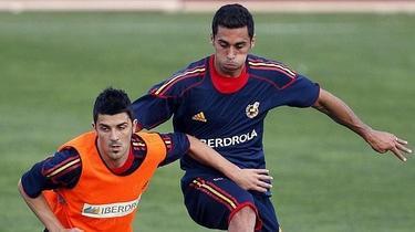 Villa y Arbeloa, durante un entrenamiento de la selección. | EFE
