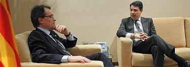 Los presidentes de Cataluña y Madrid, durante la reunión |Comunidad de Madrid