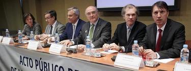 Portavoces de las asociaciones de jueces y fiscales. EFE