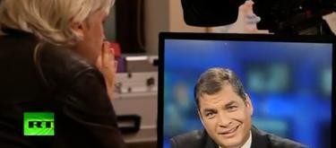 Assange entrevistó a Correa en mayo de 2012 en la cadena Russia Today.