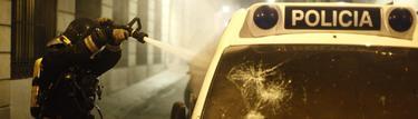 Uno de los coches atacados en la huelga | Cordon Press