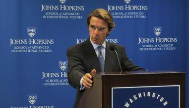 Aznar, durante su conferencia en la School of Advanced Internacional Studies