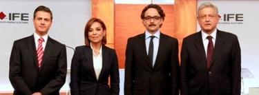 Los candidatos: Peña Nieto, Vázquez Mota, Quadri y López Obrador.
