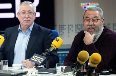 Ignacio Fernández Toxo y Cándido Méndez durante la entrevista | EFE